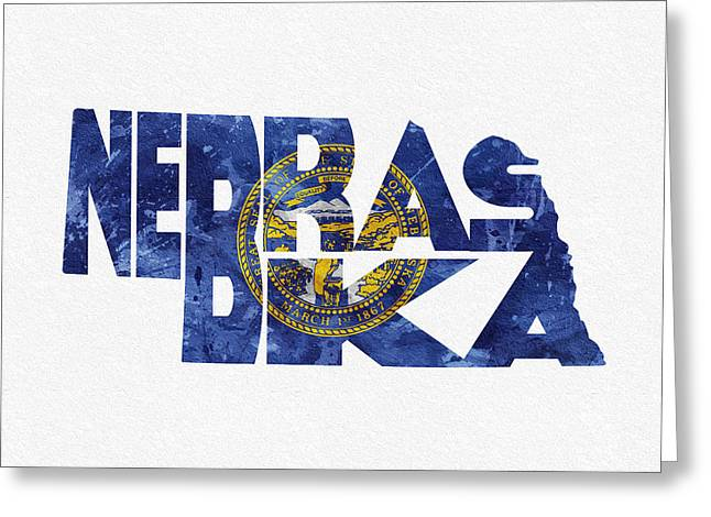 Omaha Greeting Cards - Nebraska Typographic Map Flag Greeting Card by Ayse Deniz