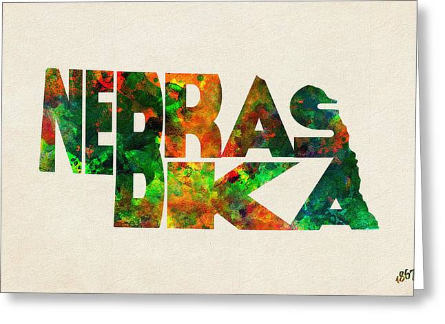 Omaha Greeting Cards - Nebraska Typographic Watercolor Map Greeting Card by Ayse Deniz