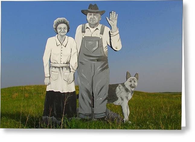 Grampa Greeting Cards - Nebraska Villagers Greeting Card by Charles Russell