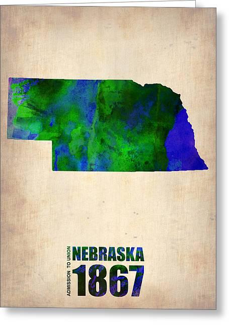 Nebraska. Greeting Cards - Nebraska Watercolor Map Greeting Card by Naxart Studio