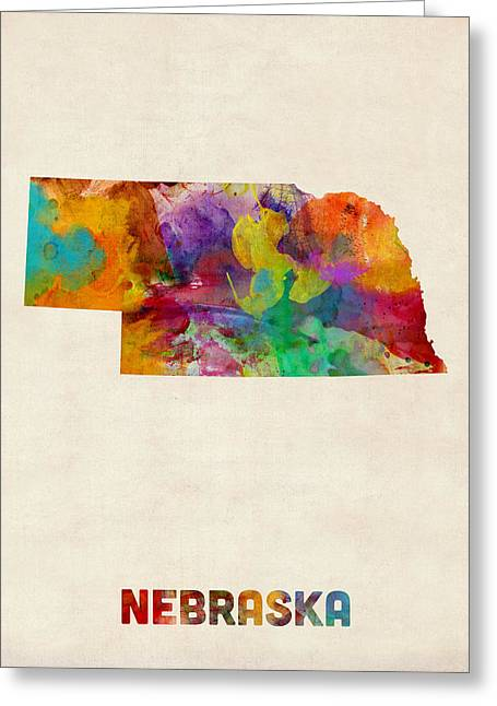 Us Map Greeting Cards - Nebraska Watercolor Map Greeting Card by Michael Tompsett