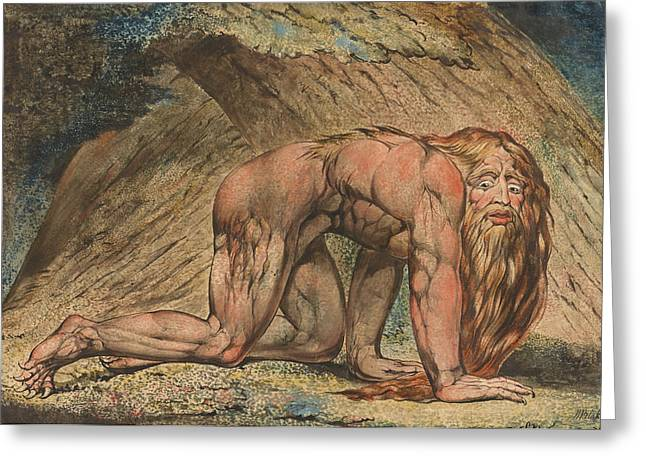 Primitive Greeting Cards - Nebuchadnezzar Greeting Card by William Blake