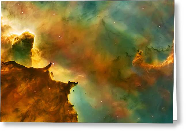 Hubble Photographs Greeting Cards - Nebula Cloud Greeting Card by The  Vault - Jennifer Rondinelli Reilly