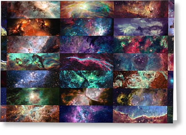 Light-years Greeting Cards - Nebula Collage  Greeting Card by Taylan Soyturk