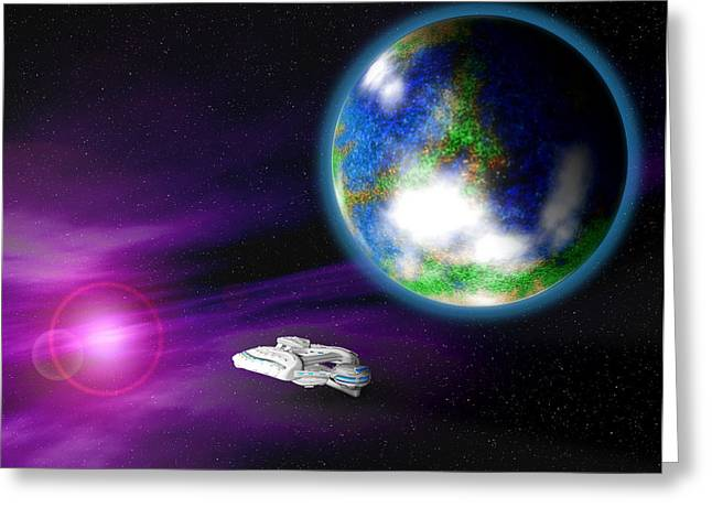 Battlestar Greeting Cards - Nebula Planet Greeting Card by Michael Lee