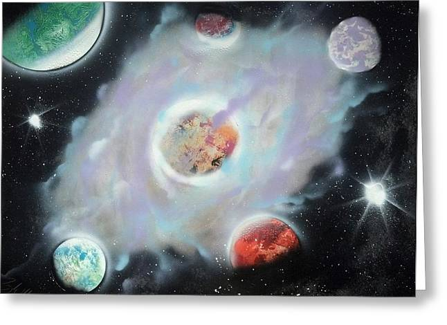 Interstellar Space Mixed Media Greeting Cards - Nebula Greeting Card by Troy Woolley