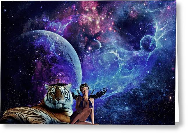 Creative Manipulation Digital Greeting Cards - Nebulist Tiger Greeting Card by Becca Buecher