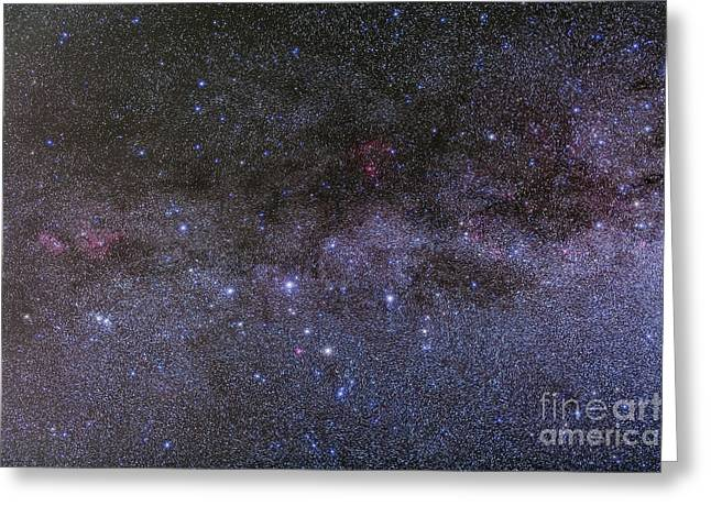 Double Cluster Greeting Cards - Nebulosity In Cassiopeia Showing Ngc Greeting Card by Alan Dyer