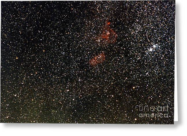 Double Cluster Greeting Cards - Nebulosity Region & H & Chi Double Greeting Card by John Chumack