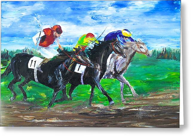 Belmont Stakes Greeting Cards - Neck and Neck Greeting Card by Kevin  Brown
