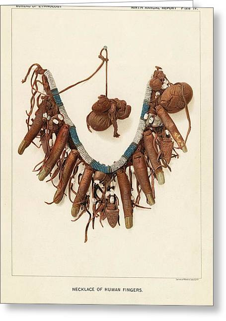 Necklace Of Human Fingers Greeting Card by Art And Picture Collection/new York Public Library
