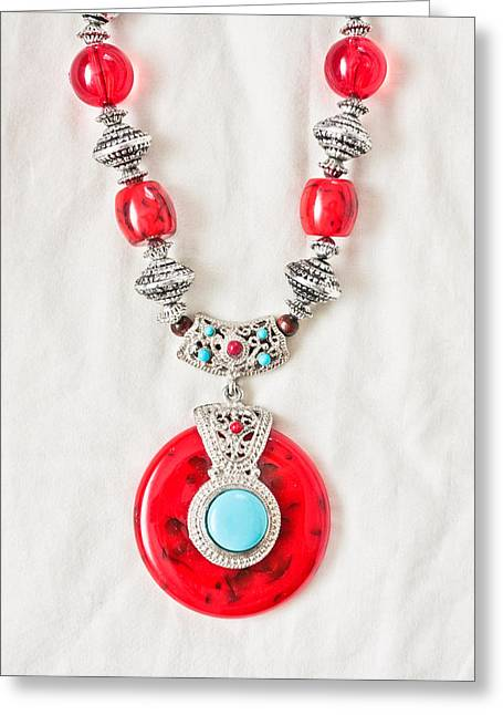 Asian Market Greeting Cards - Necklace Greeting Card by Tom Gowanlock