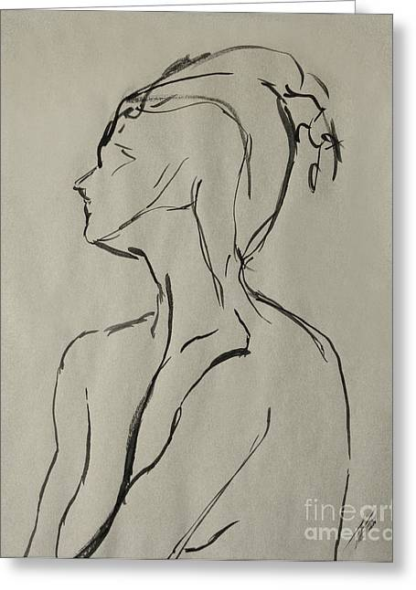 Figure Drawing Greeting Cards - Neckline Greeting Card by Peter Piatt