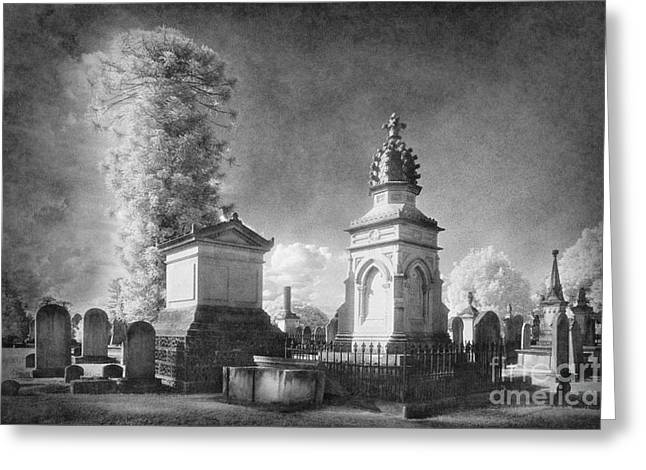 Black Cemetery Greeting Cards - Necropolis 05 Greeting Card by Colin and Linda McKie