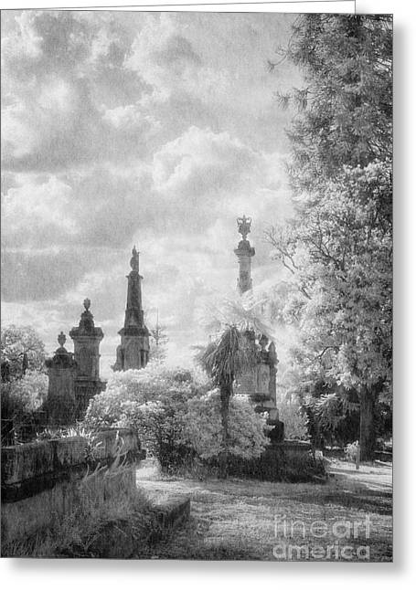 Black Cemetery Greeting Cards - Necropolis 06 Greeting Card by Colin and Linda McKie