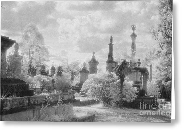 Black Cemetery Greeting Cards - Necropolis 07 Greeting Card by Colin and Linda McKie