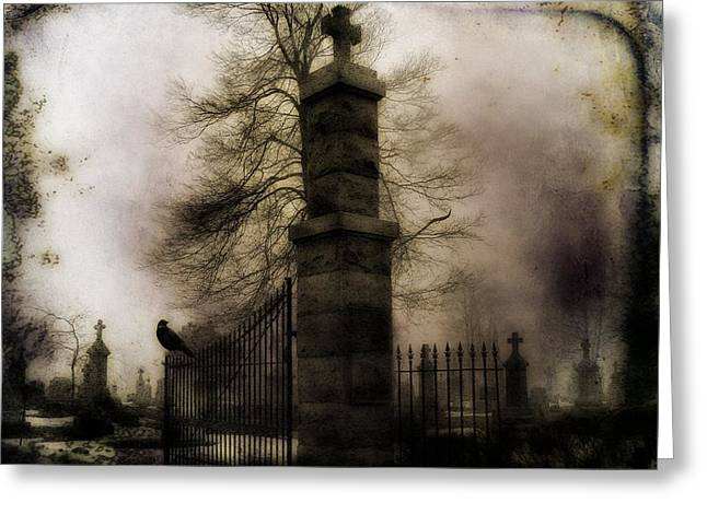 Crows On Tombstones Greeting Cards - Necropolis Gate and Crow Greeting Card by Gothicolors Donna Snyder