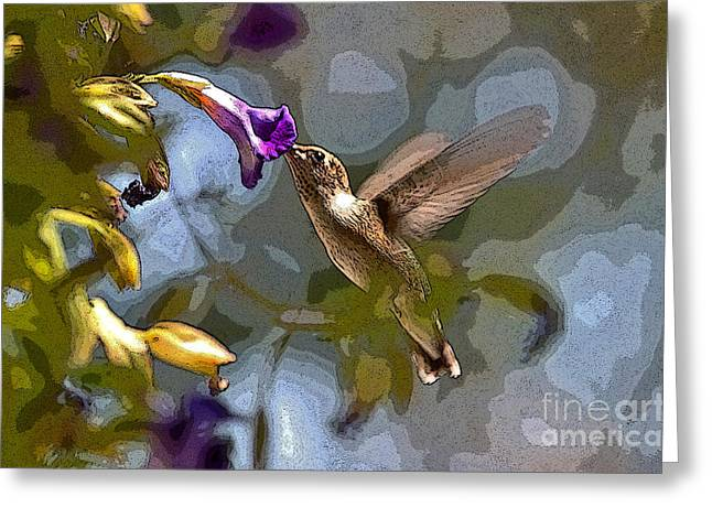Hovering Greeting Cards - Nectar of Life Greeting Card by Janice Rae Pariza