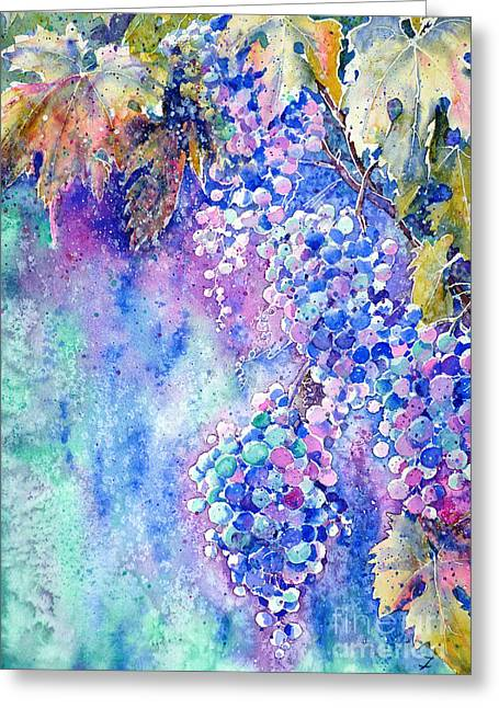Clusters Of Grapes Paintings Greeting Cards - Nectar of Nature Greeting Card by Zaira Dzhaubaeva