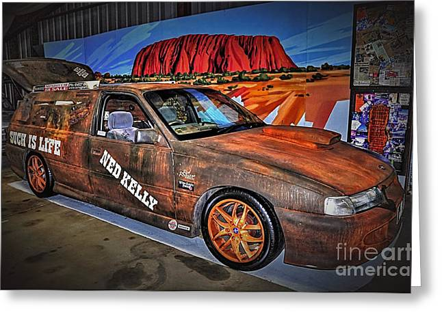 Kelly Greeting Cards - Ned Kellys Car at Ayers Rock Greeting Card by Kaye Menner