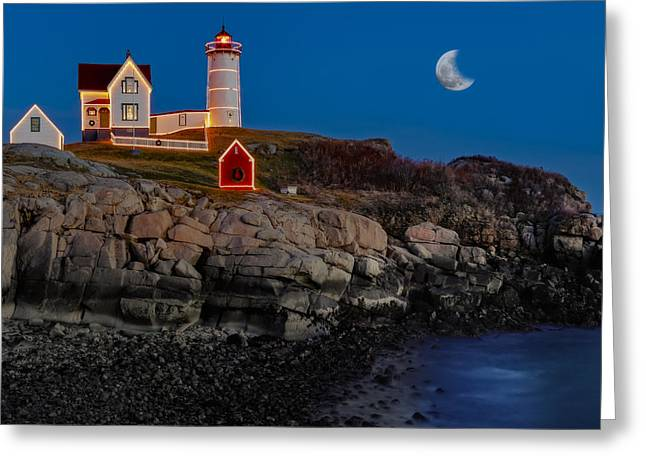 Moon Set Greeting Cards - Neddick Lighthouse Greeting Card by Susan Candelario