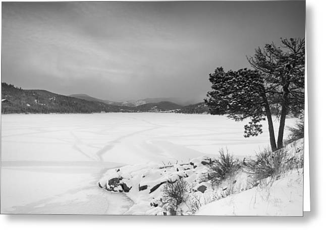 Barker Greeting Cards - Nederland Colorado Barker Reservoir Winter View BW Greeting Card by James BO  Insogna