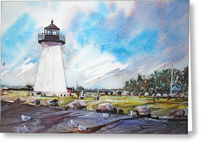 Veterans Memorial Paintings Greeting Cards - Neds Point Light Greeting Card by P Anthony Visco