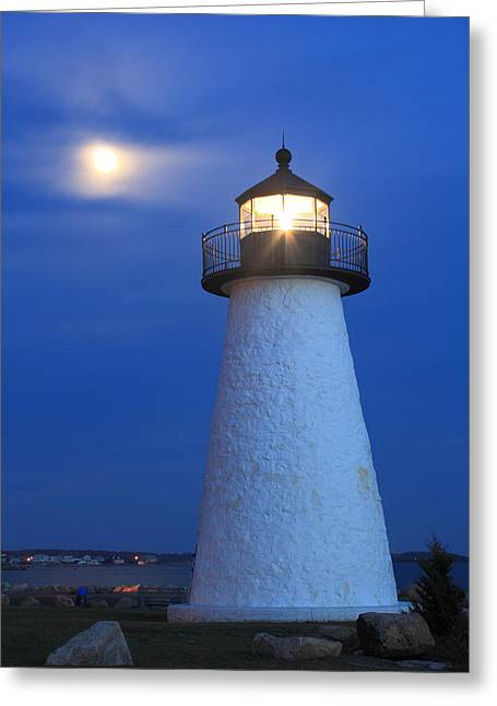 New England Lighthouse Greeting Cards - Neds Point Lighthouse Moon Mattapoisett Massachusetts Greeting Card by John Burk