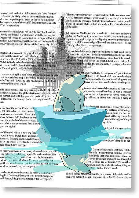 Polar Bears Greeting Cards - Need more Ice not Oil Greeting Card by Sassan Filsoof