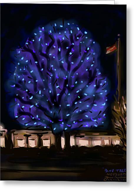 Winters Drawings Greeting Cards - Needhams Blue Tree Greeting Card by Jean Pacheco Ravinski