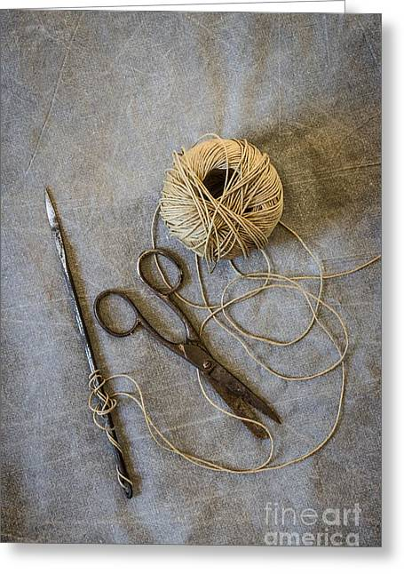 Twine Greeting Cards - Needle and String Greeting Card by Carlos Caetano