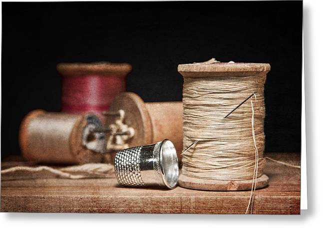 Metal Art Greeting Cards - Needle and Thread Greeting Card by Tom Mc Nemar