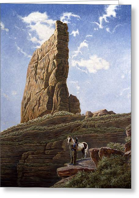 Needle Rock Greeting Card by Gregory Perillo