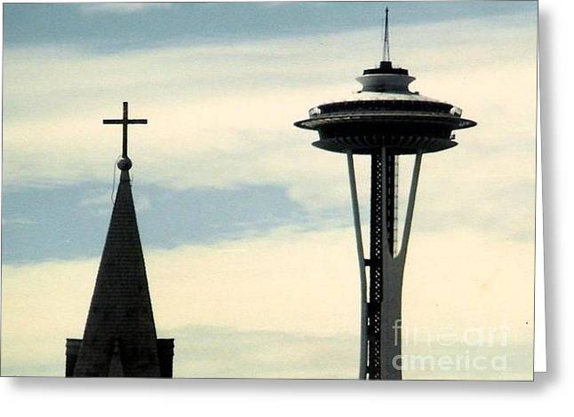 Space Needle Framed Prints Greeting Cards - Needle Steeple and Cross in Seattle Washington  Greeting Card by Michael Hoard
