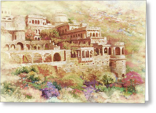 Devi Greeting Cards - Neemrana Fort Palace Greeting Card by Catf