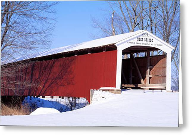Wintry Photographs Greeting Cards - Neet Covered Bridge Parke Co In Usa Greeting Card by Panoramic Images