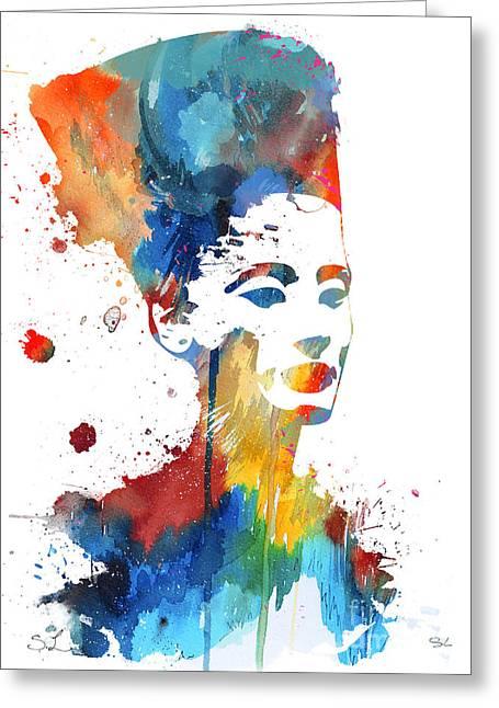 Watercolour Portrait Greeting Cards - Nefertiti  Greeting Card by Luke and Slavi