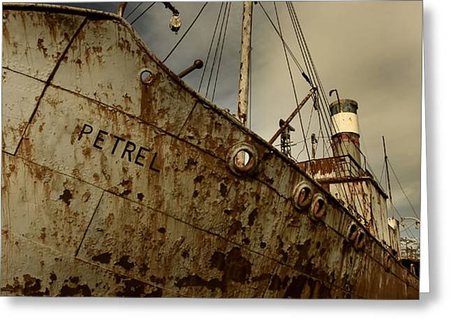 Ship In Sepia Greeting Cards - Neglected Whaling Boat Greeting Card by Amanda Stadther