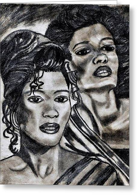 Negro Drawings Greeting Cards - Negro Female Beauty Greeting Card by Jo-Ann Hayden