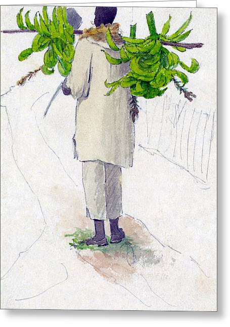 Negro Greeting Cards - Negro Man Carrying Plantains On Pole Greeting Card by William Berryman