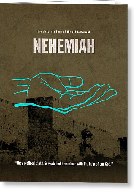Biblical Art Greeting Cards - Nehemiah Books Of The Bible Series Old Testament Minimal Poster Art Number 16 Greeting Card by Design Turnpike