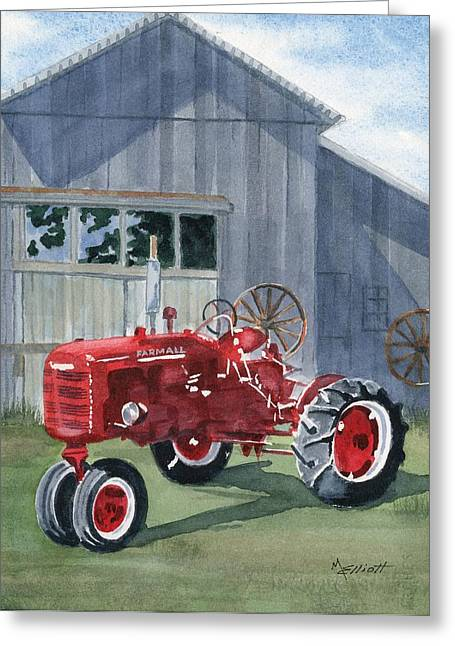 Neighbor Don's Farmall Greeting Card by Marsha Elliott