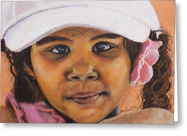 Satisfaction Pastels Greeting Cards - Neighbor Girl Greeting Card by Jeanne Fischer