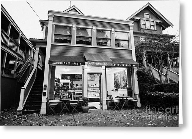 Grocery Store Greeting Cards - neighbourhood grocery and small deli in west end Vancouver BC Canada Greeting Card by Joe Fox