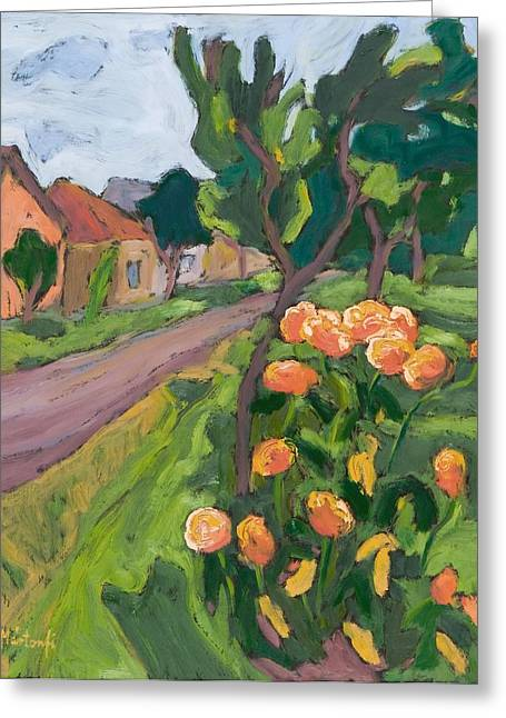 Neighbours Roses, 2008 Oil On Board Greeting Card by Marta Martonfi-Benke