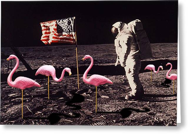 Moon Walk Greeting Cards - Neil Armstrong And Flamingos on The Moon Greeting Card by Tony Rubino