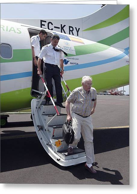 Armstrong Neil Greeting Cards - Neil Armstrong at La Palma Airport Greeting Card by Science Photo Library