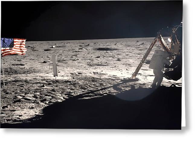 Neil Armstrong Greeting Cards - Neil Armstrong on the Moon - 1969 Greeting Card by Mountain Dreams