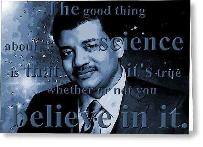 Planetarium Greeting Cards - Neil deGrasse Tyson Greeting Card by Dan Sproul