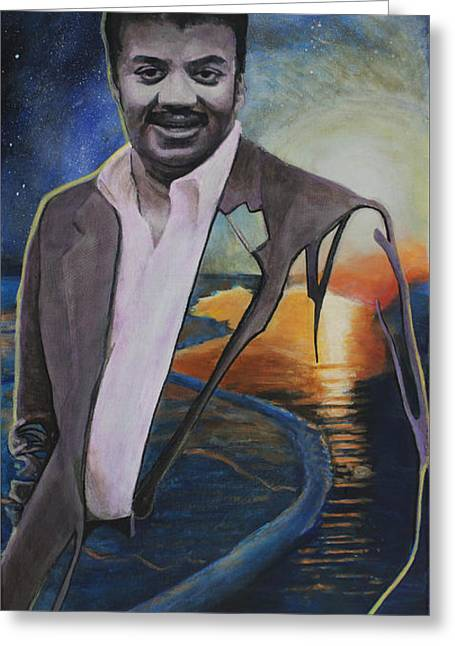 Cosmos Paintings Greeting Cards - Neil deGrasse Tyson- Shore of the Cosmic Ocean Greeting Card by Simon Kregar